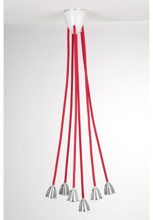 Less'n'more Athene Ceiling Light 6 A-6DL heads aluminum, flex arms textile red
