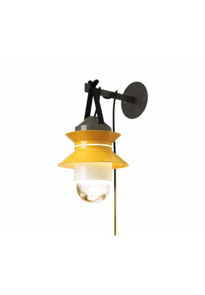 Marset Santorini with wall mount and plug lead, yellow