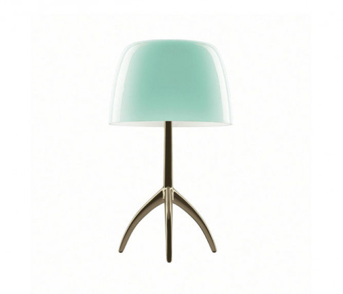 Foscarini Lumiere 05 Piccola turquoise frame champagne on-switched