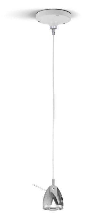 Less'n'more Ylux Pendant Light head aluminum polished, canopy white, cable white