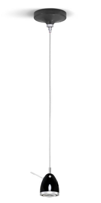 Less'n'more Ylux Pendant Light head glossy black, canopy grey, cable white