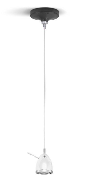 Less'n'more Ylux Pendant Light head glossy white, canopy grey, cable white