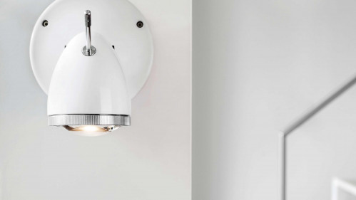 Less'n'more Ylux Wall / Ceiling Spotlight head glossy white, canopy white