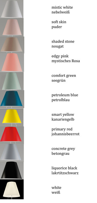 Luceplan Costanza Table Fixing Pin shade colours