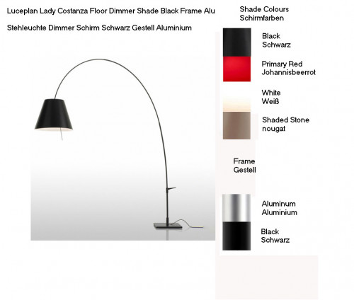 Luceplan Lady Costanza Floor Dimmer colours