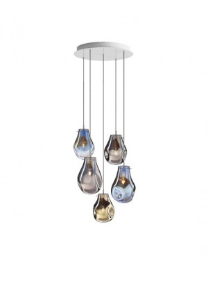 Bomma Soap chandelier with 5 lamps multicolour version 1, 2 x Large frosted, 2 x Small clear, 1 x Small frosted