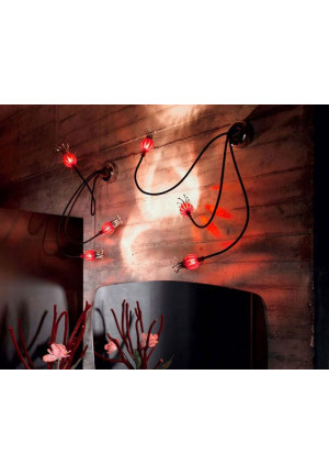 Serien Lighting Poppy Wall/ Ceiling 3 arms beige, shades rubyred