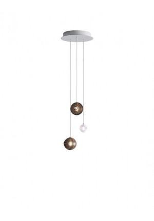 Bomma Dark & Bright Star chandelier with 3 lamps multicolour, 2 x Large brown, 1 x Small white
