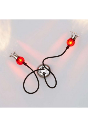 Serien Lighting Poppy Wall/ Ceiling 2 arms black, shades rubyred
