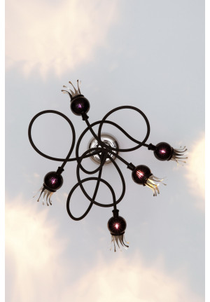 Serien Lighting Poppy Wall/ Ceiling 5 arms black, shades black violet