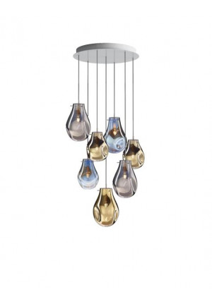 Bomma Soap chandelier with 7 lamps multicolour version 1, 2 x Large clear, 2 x Large frosted, 2 x Small clear, 1 x Small frosted