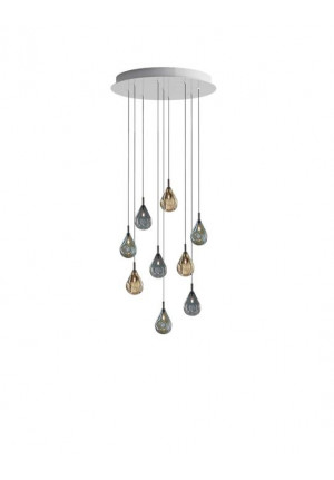 Bomma Soap Mini chandelier with 9 lamps multicolour version 1, 4 x clear, 5 x frosted