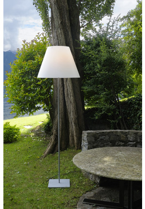 Luceplan Grande Costanza Open Air shade green, frame and base alu